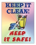 Vertical Keep It Clean, Keep It Safe! Housekeeping Banners and Posters, Choose from 4 sizes plus 6 different size posters