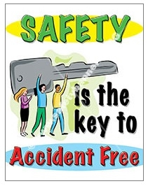 Vertical, Safety Is The Key To Accident Free, Banners and Posters, Choose from 4 sizes plus 6 different size posters