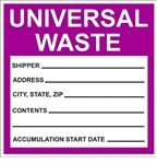 UNIVERSAL WASTE Drum Identification Labels - 6 X 6 - Choose from Package of 10 Pressure Sensitive Vinyl or Roll of 500 Paper labels