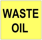 Waste Oil Labels 6 X 6 - Choose Package of 10 Vinyl or Roll of 500 Paper labels