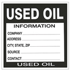 Used Oil Information Labels - 6 X 6 - Choose Package of 10 Vinyl or Roll of 500 Paper labels