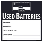Used Batteries Labels 6 X 6 - Choose Package of 10 Vinyl or Roll of 500 Paper labels