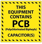 THIS EQUIPMENT CONTAINS PCB's Label 6 X 6 - Choose Package of 10 Pressure Sensitive Vinyl or Roll of 500 Self Adhesive Paper labels