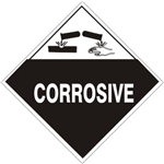 CORROSIVE Shipping Labels 4 X 4 - (10/PK) - Self Adhesive Vinyl