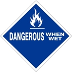 DANGEROUS WHEN WET Subsidiary Risk Labels - 4 X 4 - (10/PK) - Self Adhesive Vinyl