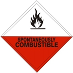 SPONTANEOUSLY COMBUSTIBLE Subsidiary Risk Labels - 4 X 4 - (10/PK) - Self Adhesive Vinyl