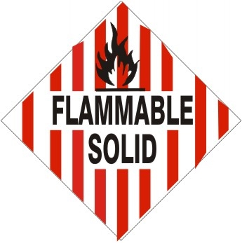 FLAMMABLE SOLID Subsidiary Risk Labels - 4 X 4 - (10/PK) - Self Adhesive Vinyl