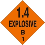 1.4 EXPLOSIVE B Shipping Label 4 X 4 - Choose Package of 10 Vinyl or Roll of 500 Vinyl labels