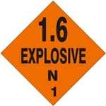 1.6 EXPLOSIVE N Shipping Label 4 X 4 - Choose Package of 10 Vinyl or Roll of 500 Paper labels