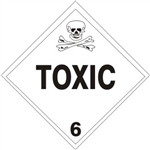 TOXIC CLASS 6 Shipping Label 4 X 4 - Choose Package of 10 Vinyl or Roll of 500 Paper labels