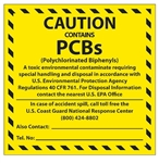 CAUTION CONTAINS PCB's Label 6 X 6 - Choose Package of 10 Pressure Sensitive Vinyl or Roll of 500 Paper Labels