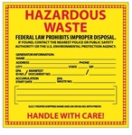HAZARDOUS WASTE Labels 6 X 6 - Choose Package of 10 Pressure Sensitive Vinyl or Roll of 500 Vinyl labels