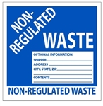 NON-REGULATED WASTE Labels 6 X 6 - Choose Package of 10 Pressure Sensitive Vinyl or Roll of 500 Vinyl Labels