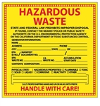 HAZARDOUS WASTE (CALIFORNIA SPECIFIC) Labels 6 X 6 - Choose Package of 10 Pressure Sensitive Vinyl or Roll of 500 Vinyl Labels