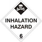INHALATION HAZARD CLASS 6 Shipping Label 4 X 4 - Choose Package of 10 Vinyl or Roll of 500 Vinyl Labels