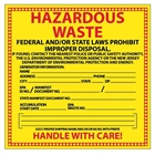HAZARDOUS WASTE NEW JERSEY Labels 6 X 6 - Choose Package of 10 Pressure Sensitive Vinyl or Roll of 500 Paper Labels