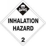 INHALATION HAZARD (CLASS 2) Shipping Labels 4 X 4 – Choose a Package of 10 Pressure Sensitive Vinyl or Rolls of 500 Paper Labels
