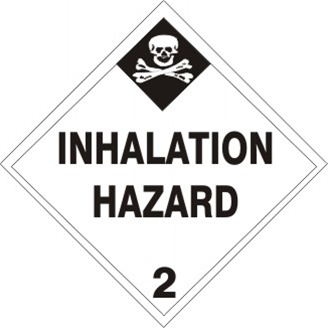 INHALATION HAZARD (CLASS 2) Shipping Labels 4 X 4 – Choose a Package of 10 Pressure Sensitive Vinyl or Rolls of 500 Vinyl Labels