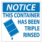 THIS CONTAINER HAS BEEN TRIPLE RINSED - Drum and Container Label 6 X 6 - Choose Package of 25 Pressure Sensitive Vinyl or Roll of 500 Paper labels