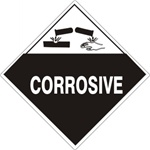 CORROSIVE Shipping Label 4 X 4 - Choose Package of 10 Vinyl or Roll of 500 Vinyl Labels