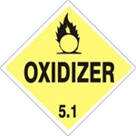 OXIDIZER CLASS 5.1 Shipping Label 4 X 4 – Choose a Package of 10 Pressure Sensitive Vinyl or Rolls of 500 Paper Labels