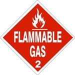 FLAMMABLE GAS, CLASS 2 Shipping Labels 4 X 4 - Choose Package of 10 Pressure Sensitive Vinyl or Roll of 500 Paper Labels
