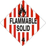 FLAMMABLE SOLID CLASS 4 Shipping Label 4 X 4 – Choose a Package of 10 Pressure Sensitive Vinyl or Rolls of 500 Paper Labels