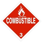 COMBUSTIBLE CLASS 3 Shipping Label 4 X 4 - Choose Package of 10 Pressure Sensitive Vinyl or Roll of 500 Vinyl Labels