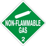 NON-FLAMMABLE GAS CLASS 2 Shipping Label 4 X 4 – Choose a Package of 10 Pressure Sensitive Vinyl or Roll of 500 Paper Labels