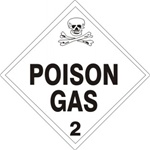 POISON GAS CLASS 2 Shipping Label 4 X 4 - Choose Package of 10 Pressure Sensitive Vinyl or Roll of 500 Paper Labels