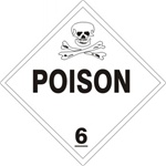 POISON CLASS 6 Shipping Label 4 X 4 – Choose a Package of 10 Pressure Sensitive Vinyl or Roll of 500 Vinyl Labels