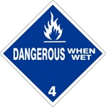 DANGEROUS WHEN WET CLASS 4 Shipping Label 4 X 4 - Choose Package of 10 Pressure Sensitive Vinyl or Roll of 500 Paper Labels