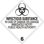 INFECTIOUS SUBSTANCE CLASS 6 Shipping Label 4 X 4 – Choose a Package of 10 Pressure Sensitive Vinyl or Roll of 500 Vinyl Labels
