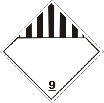 MISC. DANGEROUS GOODS Class 9 Shipping Label 4 X 4 – Choose a Package of 10 Pressure Sensitive Vinyl or Roll of 500 Vinyl Labels