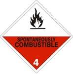 SPONTANEOUSLY COMBUSTIBLE CLASS 4 Shipping Label 4 X 4 – Choose a Package of 10 Pressure Sensitive Vinyl or Rolls of 500 Paper Labels