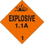 EXPLOSIVE 1.1A CLASS 1 Shipping Label 4 X 4 - Choose Package of 10 Pressure Sensitive Vinyl or Roll of 500 Vinyl Labels