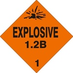 EXPLOSIVE 1.2B CLASS 1 Shipping Label 4 X 4 - Choose Package of 10 Pressure Sensitive Vinyl or Roll of 500 Vinyl Labels