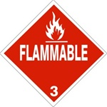 FLAMMABLE CLASS 3 Shipping Label 4 X 4 - Choose Package of 10 Pressure Sensitive Vinyl or Roll of 500 Vinyl Labels