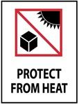 Protect From Heat - International Shipping Labels, 4 X 4 Pressure sensitive paper labels 500/roll