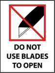 Do Not Use Blades to Open - International Shipping Labels, 4 X 3 Pressure sensitive paper labels 500/roll