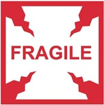 Fragile - International Shipping Labels, 4 X 4 Pressure sensitive paper labels 500/roll