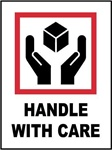 Handle With Care - International Shipping Labels, 4 X 4 Pressure sensitive paper labels 500/roll