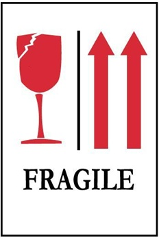 FRAGILE with GLASS and ARROWS - International Shipping Labels
