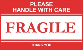 Please Handle With Care Fragile, 3 X 5 Pressure sensitive paper labels 500/roll