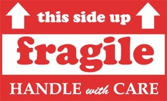 This Side Up - Fragile - handle With Care, 3 X 5 Pressure sensitive paper labels 500/roll