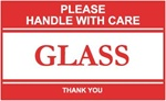 Please Handle With Care Glass, 3 X 5 Pressure sensitive paper labels 500/roll