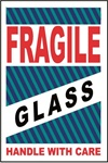 Fragile Glass Handle With Care, 6 X 4 Pressure sensitive paper labels 500/roll