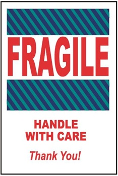 Fragile Handle With Care, 6 X 4 Pressure sensitive paper labels 500/roll