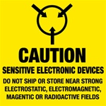 Caution Sensitive Electronic Device, 4 X 4 Pressure sensitive paper labels 500/roll
