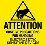 Anti Static Caution Label, 4 X 4 Pressure sensitive paper labels 500/roll